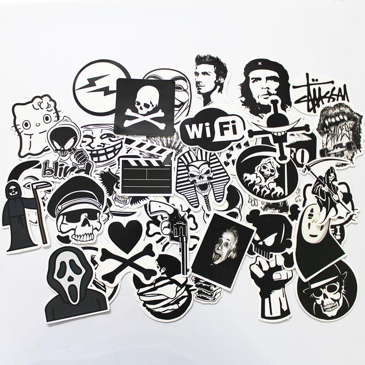 50 STÜCKE Schwarz und Weiß Kühler DIY Aufkleber Für Skateboard Laptop Gepäck Snowboard Kühlschrank Telefon Spielzeug Styling Home Decor Aufkleber