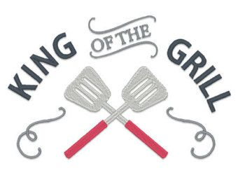 King of the Grill Filled Embroidery Design Apron by EmbroideryLand