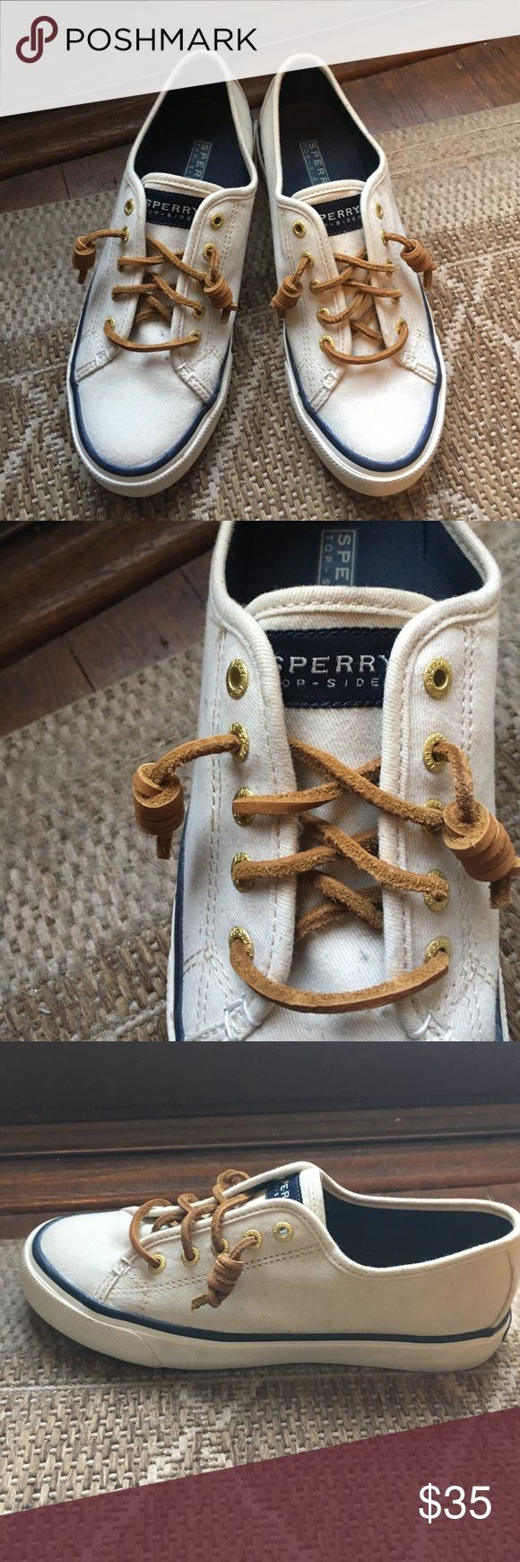 Creamy Sperry Sneakers Comfortable, practical, and fashionable Sperry Top-Sider sneakers. Lovely leather shoelaces. Gently worn, size 6. Sperry Top-Sider Shoes Sneakers