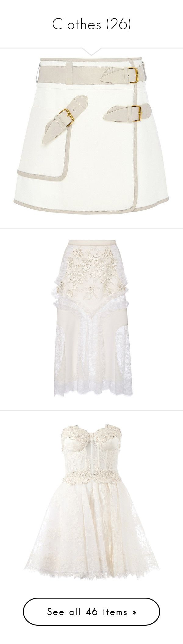 """""""Clothes (26)"""" by asia-12 ❤ liked on Polyvore featuring skirts, bottoms, cotton wrap skirt, military skirts, white a line skirt, a line wrap skirt, knee length a line skirt, rodarte, white and floral lace skirt"""