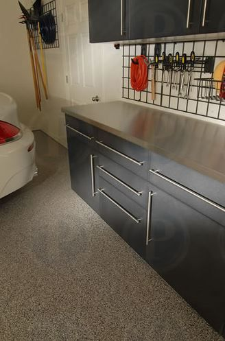 Great Powder Coated Slate Cabinets #premiergarage #tailoredliving #bayarea #garage  #home #