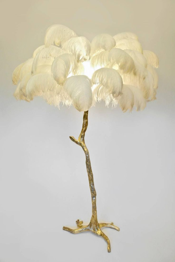 Hollywood Regency Sculptural Ostrich Feather Palm Tree Floor Lamp For Sale at 1stdibs
