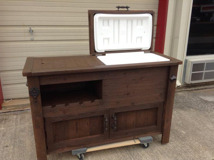 Outdoor Rustic Wooden Cooler Bar Buffet by RusticWoodWorx
