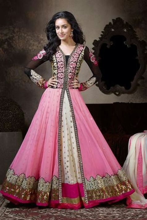 Marvellous Shraddha Kapoor Georgette Pink,White Suit