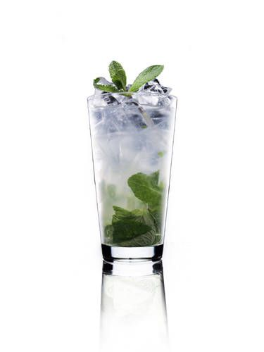 2 oz. Absolut Citron½ lime, quartered½ simple syrup7 mint sprigsClub sodaGarnish: mint sprigTo make simple syrup, mix equal parts hot water and sugar until sugar is dissolved. Muddle mint, lime, and simple syrup in a cocktail shaker. Add ice and vodka. Shake and strain into a glass filled with ice. Top with club soda. Garnish with a mint sprig.Source: Chris Patino, Mixologist Courtesy Image -Cosmopolitan.com