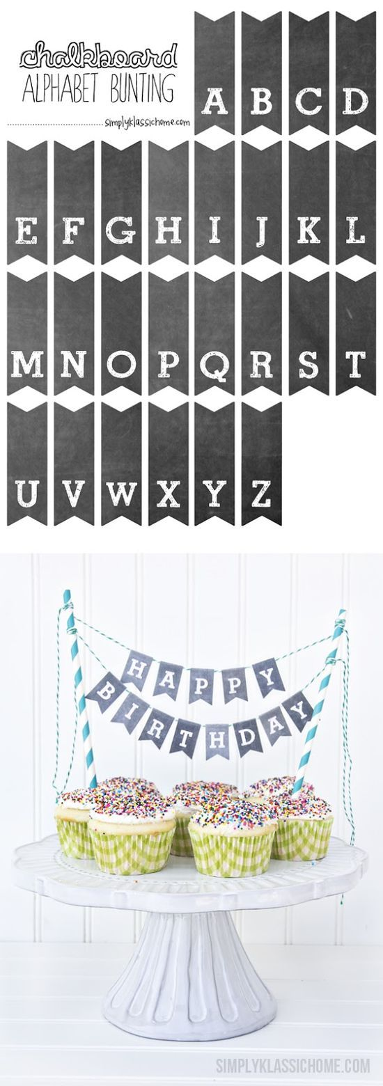 Printable Chalkboard Alphabet Bunting - Add some charm to your cakes, cupcakes and pies with this free printable download from Simply
