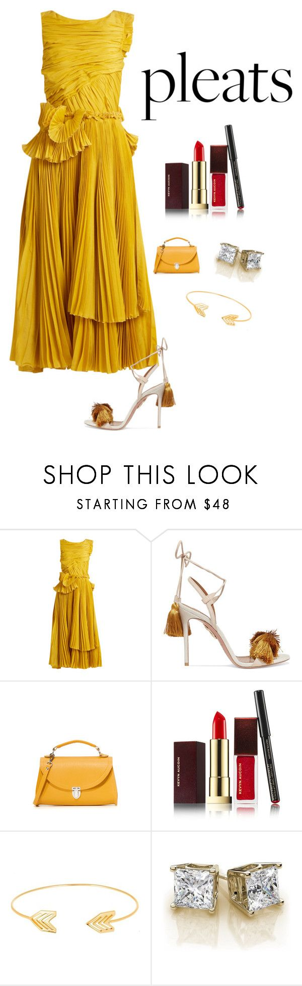 """Untitled #5617"" by kotnourka ❤ liked on Polyvore featuring Rochas, Aquazzura, The Cambridge Satchel Company, Kevyn Aucoin and Lord & Taylor"