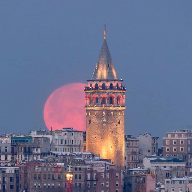 Pink Moon Dreaming - Galata Tower in Turkey via @serafettinyagmur