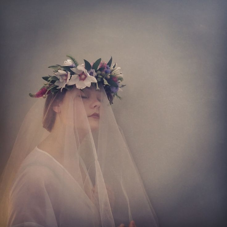 Romantic floral crown by Mindy Dalzell of Twig & Arrow model Gretta Dalzell