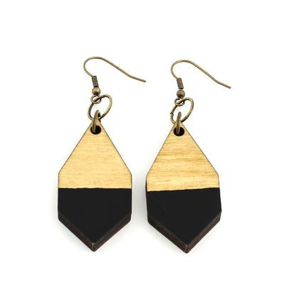 DIAMANTE earrings in black/ light wood