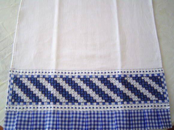 Pano de Prato c/ barrado bordado | * Feito Com Carinho * | 23B54F - Elo7