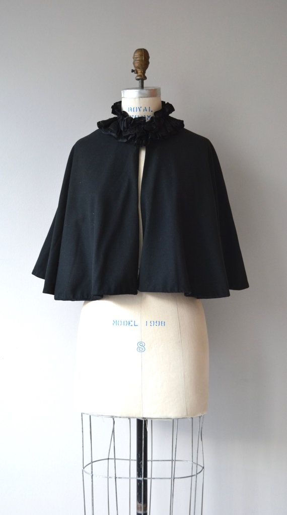 Antique late 1800s Victorian cape in jet black lightweight wool (very easy to wear and not heavy) with ruffled lace collar and one closure at the neck. Lined.  --- M E A S U R E M E N T S ---  fits like: fits most bust: free waist: free length: 21 from back of collar brand/maker: n/a condition: excellent  ★ layaway is available for this item  To ensure a good fit, please read the sizing guide: http://www.etsy.com/shop/DearGolden/policy  ➸ More vintage sweate...