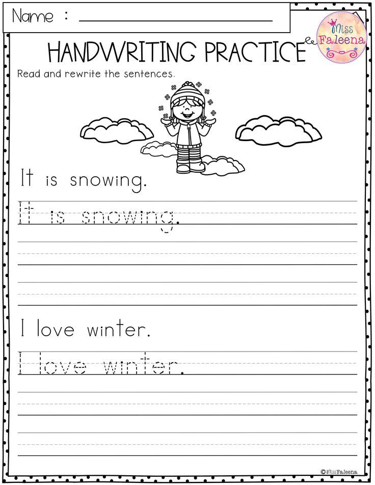 Winter Handwriting Practice This Product Has 20 Pages Of
