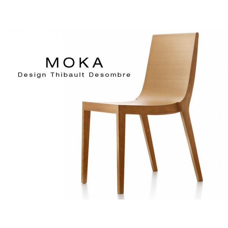 Chaise bois design MOKA structure et assise vernis - Lot de 5 chaises
