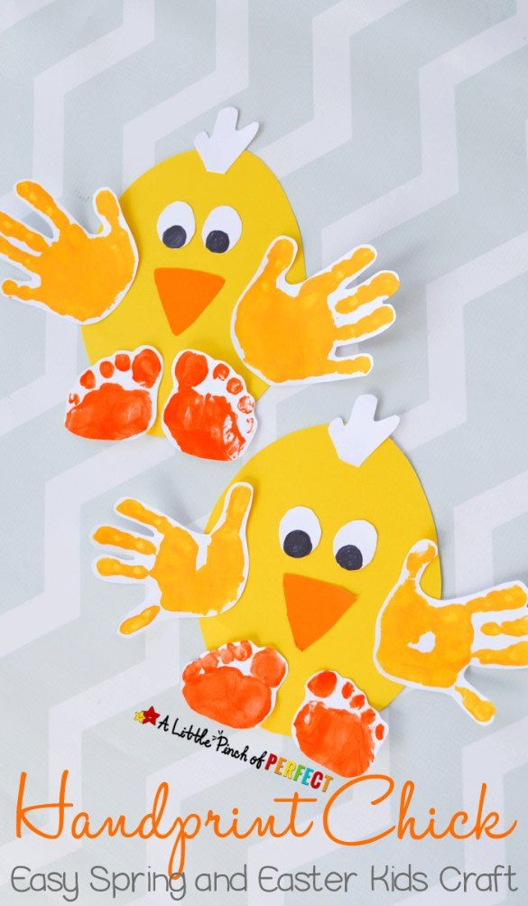 Fun Handprint Art Activities for Kids. Handprint Chick. Easy Spring and Easter Kids Craft. DIY craft and keepsake ideas. The Flying Couponer.