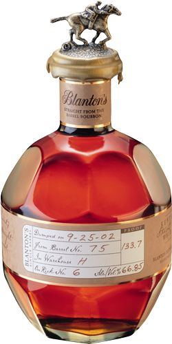 """Blanton's """"Straight from the Barrel Bottle"""": Not only one of the world's best bourbons, Blanton's Straight from the Barrel is one of the world's best whiskeys. Created for connoisseurs familiar with cask strength whiskeys, this enormous taste profile reaches depths of flavor found only in the rarest of spirits 