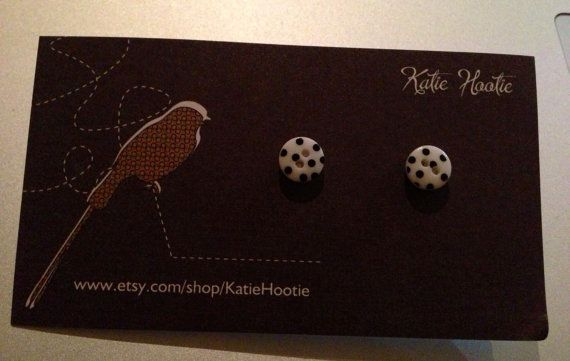 Tiny Polka Dot Button Earrings by KatieHootie on Etsy, $4.00