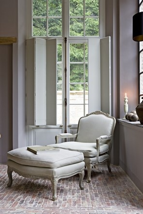 Shutters, chalky greyed tones, dusted antique brick floors and a touch of French - DIVINE! Lefevre Interiors