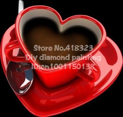 Сделай сам алмаз живопись вышивка крестом площадь смолы алмазов и полный комплект для вышивания бесплатная доставка в форме сердца кофе cupHT