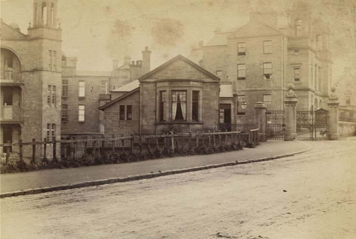 The Victoria Infirmary from Langside Road, photographed by Duncan Brown in the 1890s. Campbell Douglas & Sellars won the competition to design the new voluntary hospital for the city's South Side in 1882. Building work began in 1888 and the infirmary was formally opened on St Valentine's Day 1890. The original buildings consisted of two pavilions set at right angles to a central administration block and nurses' home.