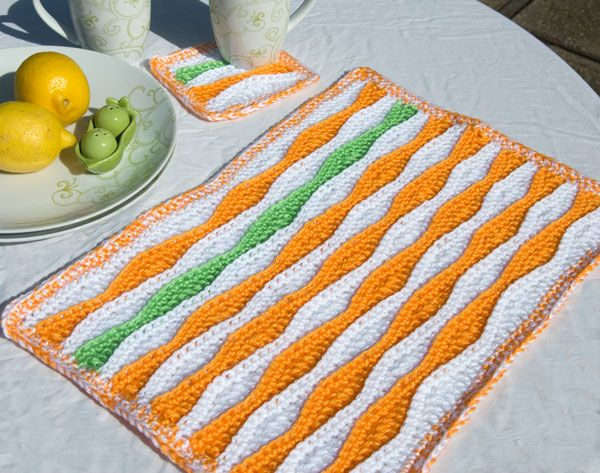 Free crochet Summer-Waves-Placemat-and-Coaster Patterns- I think I will try this in shades of blue so it will look more like water. THIS WOULD BE A CUTE TABLERUNNER as well!