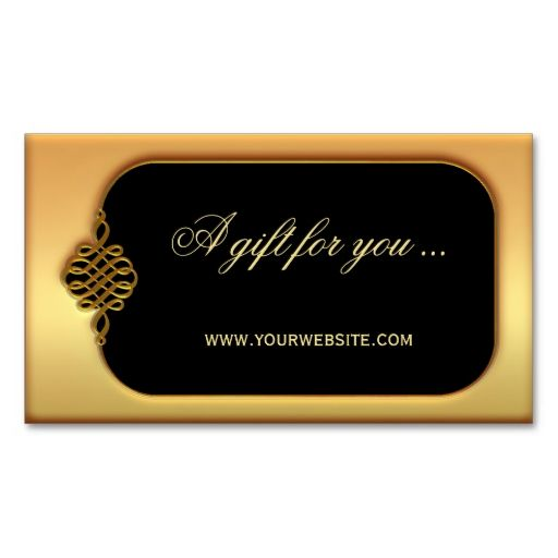 Stylish Gold Gift Certificate Template Business Cards. This great business card design is available for customization. All text style, colors, sizes can be modified to fit your needs. Just click the image to learn more!