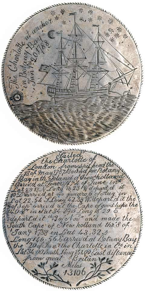 The Charlotte Medal...the Charlotte was one of the six convict ships in the First Fleet. The ship's surgeon,John White, had convict Thomas Barrett(forger), engrave this silver medal as a memento.