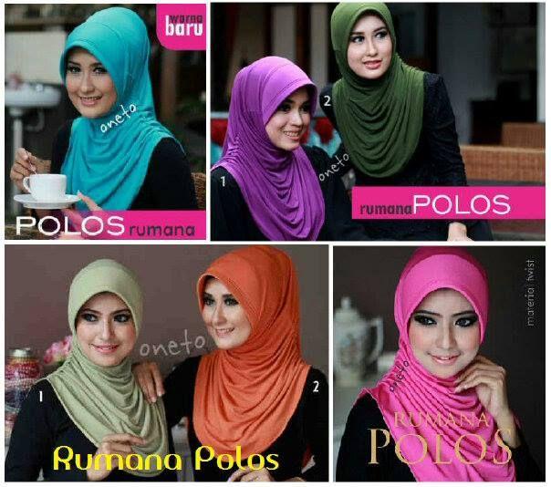 Hijab Instant Rumana Polos.  Bahan : Spandek jersey sutra