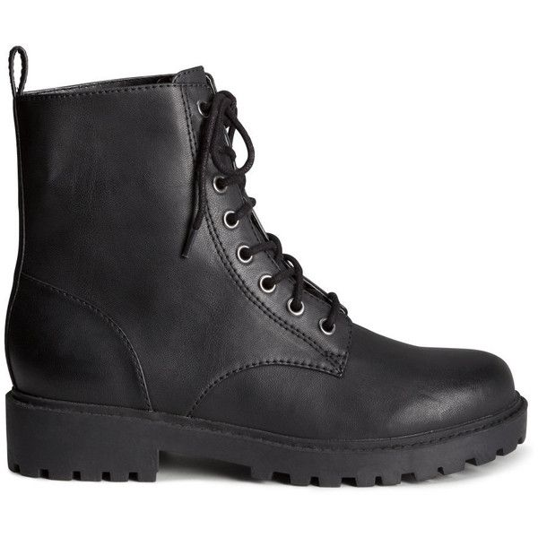 H&M Boots ($17) ❤ liked on Polyvore featuring shoes, boots, sapatos, h&m, black, h&m shoes, kohl shoes, black shoes, chunky black boots and polyurethane shoes
