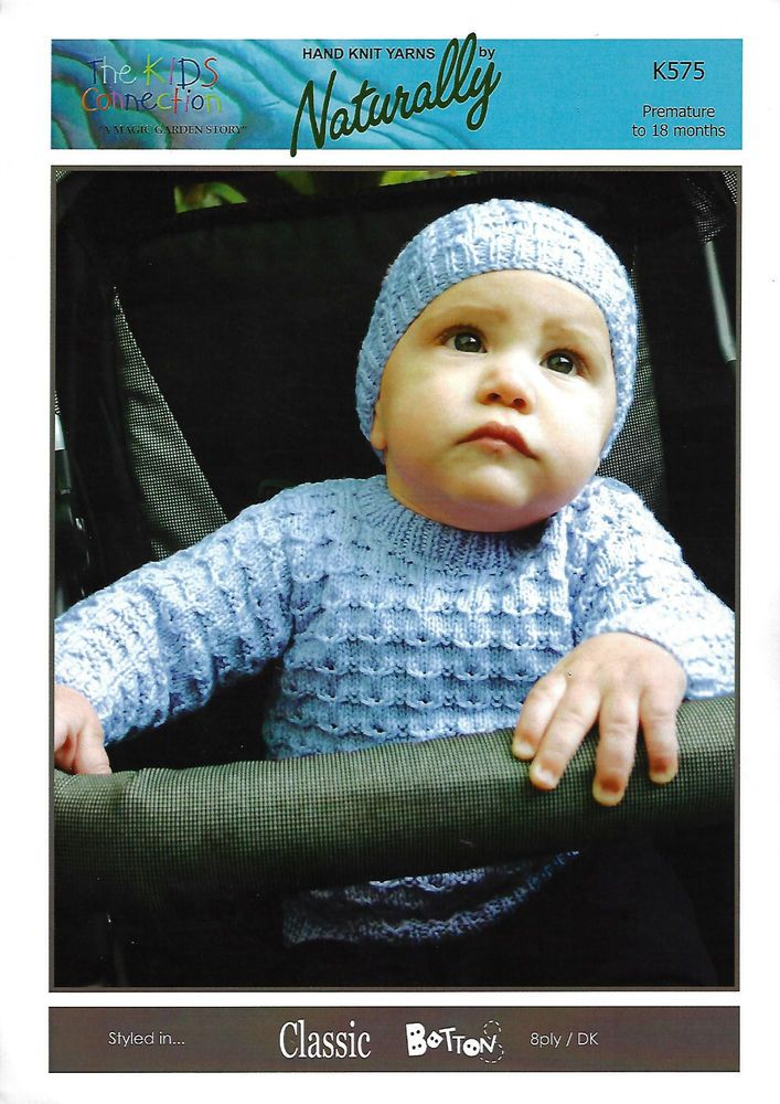 c11728981828 Baby Sweater   Hat Naturally K575 knitting pattern DK Yarn premature ...