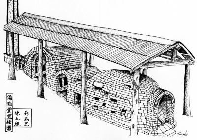 Diagram of the4 Bizen Nabori Gama kiln named for the Japanese town of its origin. (from the Joyous Spring brochure)