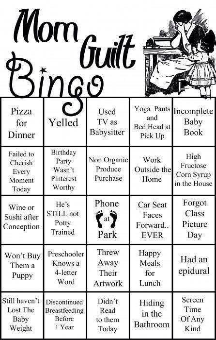 mom guilt bingo. I win!