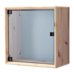IKEA - NORNÄS, Glass-door wall cabinet, pine gray/blue, , Untreated solid pine is a durable natural material that can be painted, oiled or stained according to preference.You can choose a neutral or colorful look as the back panel is reversible.Panel/glass doors provide dust-free storage and let you hide or display things according to your needs.
