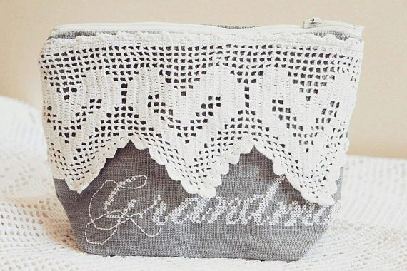 Personalized makeup bag Linen Makeup Bag with Lace Grandmom