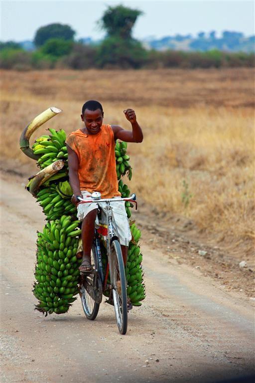 Lokale bewoner op fiets met bananen