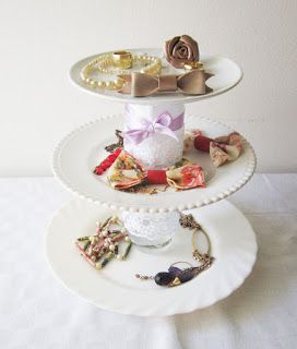 DIY romantic plate stand for jewelry and more!