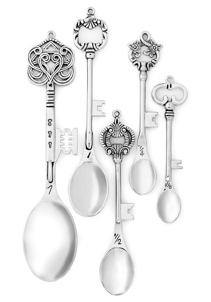 Key to the Recipe Measuring Spoon Set. Unlock new flavors for your dishes when you measure out spices with this whimsical, silver measuring spoon set! #silver #modcloth