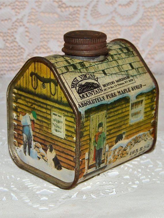 Log Cabin Rustic Tin Maple Syrup Farmhouse Kitchen Tin by WVpickin