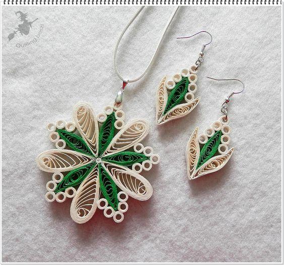 Náušnice a přívěšek - zeleno bílé květy * quilling
