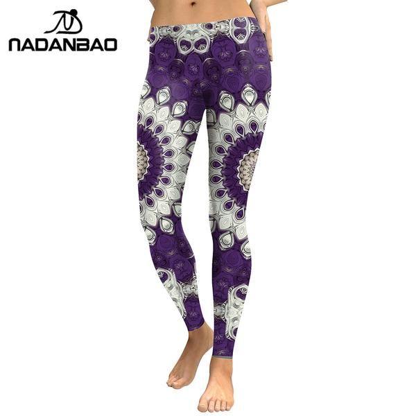 #FASHION #NEW NADANBAO New Arrival Leggings Women Purple Mandala Flower 3D Printed Fitness Leggins Slim Elastic Trousers Pants Legging
