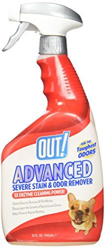 Out! Advance 3x Enzyme Cleaning Power for Severe Stains and Odors like urine, vomit, feces, and pheremones,32 oz Spray:   OUT! Advanced Severe Pet Stain and Odor Remover Spray (32 oz) tackles the toughest dog and cat messes, and eliminates them easily with the proven and powerful Pro-Bacteria and enzyme formula. Advanced Severe Stain and Odor Remover uses a natural Pro-Bacteria and enzyme formula that is 3X-concentrated to eliminate organic pet stains and odors like urine, vomit, feces...