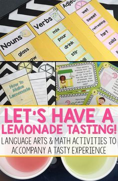 A lemonade tasting is a great activity for the end of the year!  The experience can be tied to many language arts and math skills including writing, poetry, graphing, word problems, and more.  This pack includes resources to help you facilitate a fun, and academic, experience in your primary classroom.