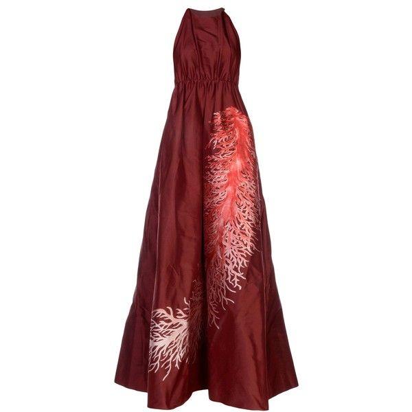 Valentino Long Dress (7.120 BRL) ❤ liked on Polyvore featuring dresses, maroon, sleeveless dress, valentino dress, long red dress, long dresses and maroon long dress