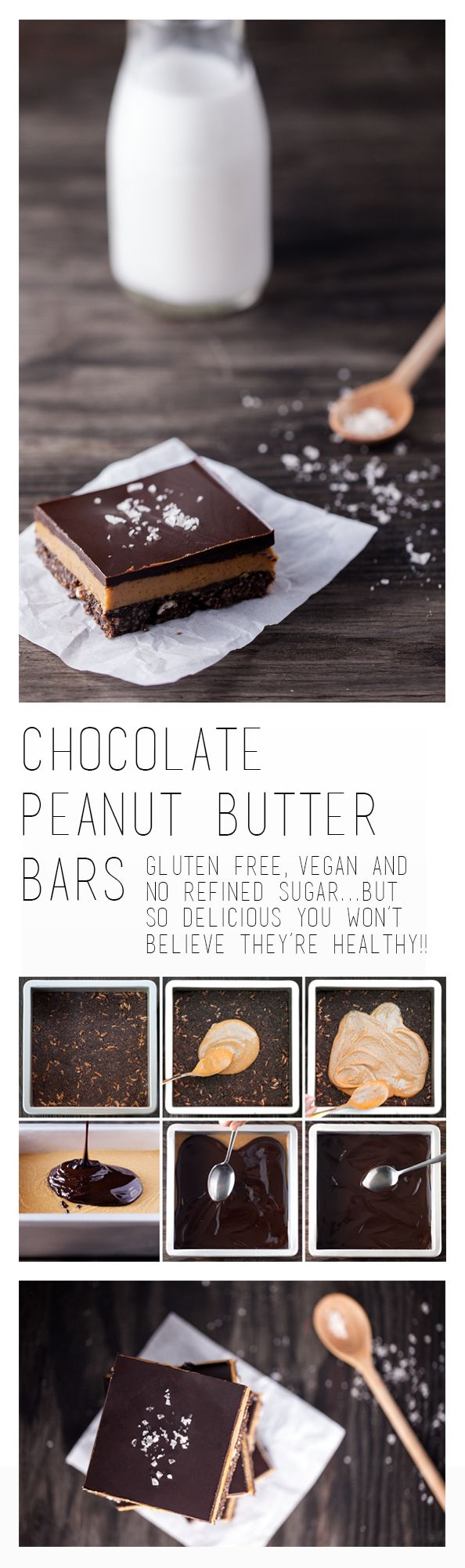 These decadent bars feature three layers of indulgent goodness. Crisp chocolate crust, creamy peanut butter and a layer of dark chocolate. And, because of the good-for-you ingredients (no flour or added refined sugar), only you'll know they're not as naughty as they seem! Vegan & Gluten Free.