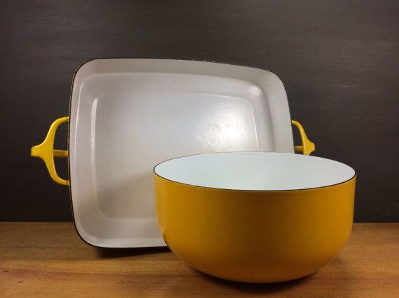 Yellow Dansk Kobenstyle Extra Large Bakeware Pan and Rare Mixing Bowl Set / Ultimate Danish Modern Bakeware / Iconic Yellow Enamel Cookware #weddingregistry #registrymusthave # kobenstyleenamel #kobenstyleset