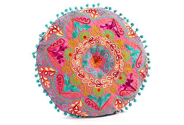"""Botanical Round Pillow, Fuchsia  KARMA LIVING  16"""" dia  $29.00  $55.00 Retail"""
