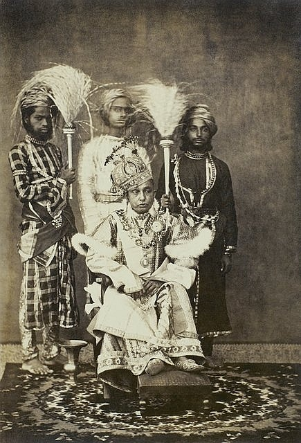 A albumen print by James Waterhouse.    'Her Highness the Nawab Secunder Begum, K.S.I.' (Bhopal, November 1862).  The Begum of Bhopal, Sikander Begum (ruled 1860-68), had a charismatic, Amazonian personality. She went tiger hunting, inspected her troops on parade and ruled with an iron hand.