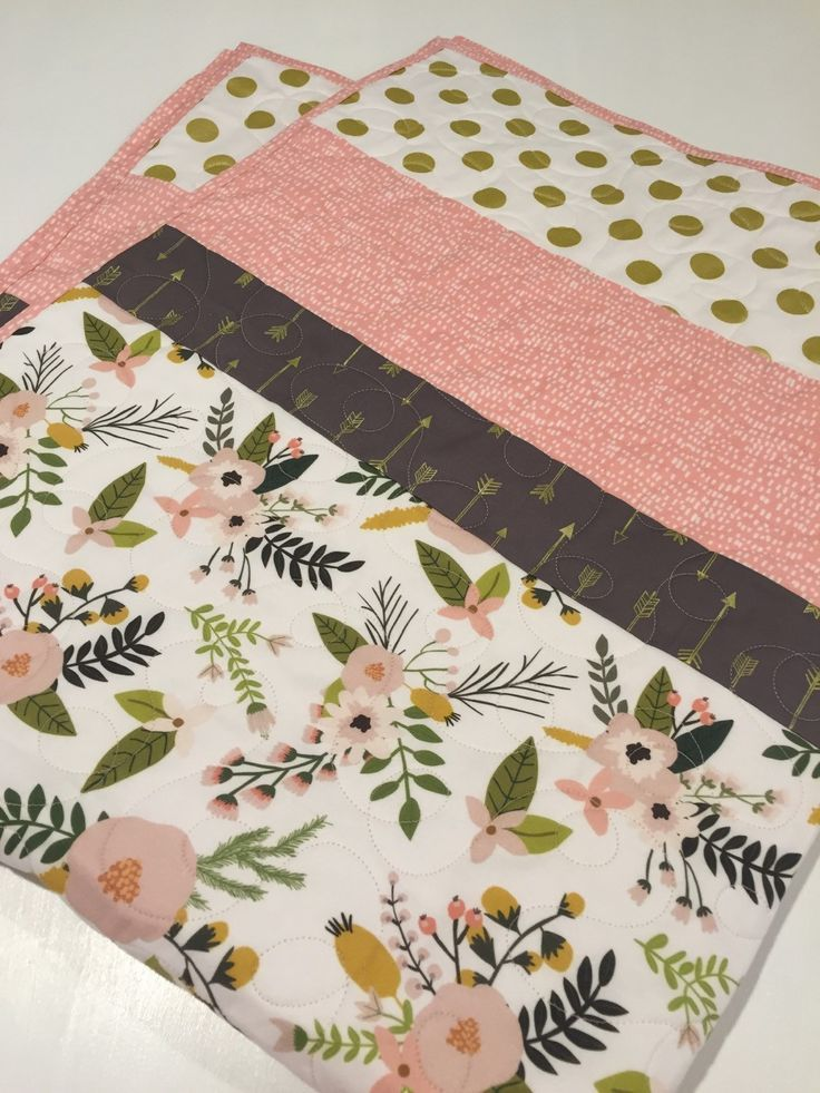 Baby Girl Floral Quilt, blush pink gold baby bedding, gold arrows, gold dots, blush pink floral baby quilt, nursery bedding, crib bedding by 31RubiesQuiltStudio on Etsy trendy family must haves for the entire family ready to ship! Free shipping over $50. Top brands and stylish products