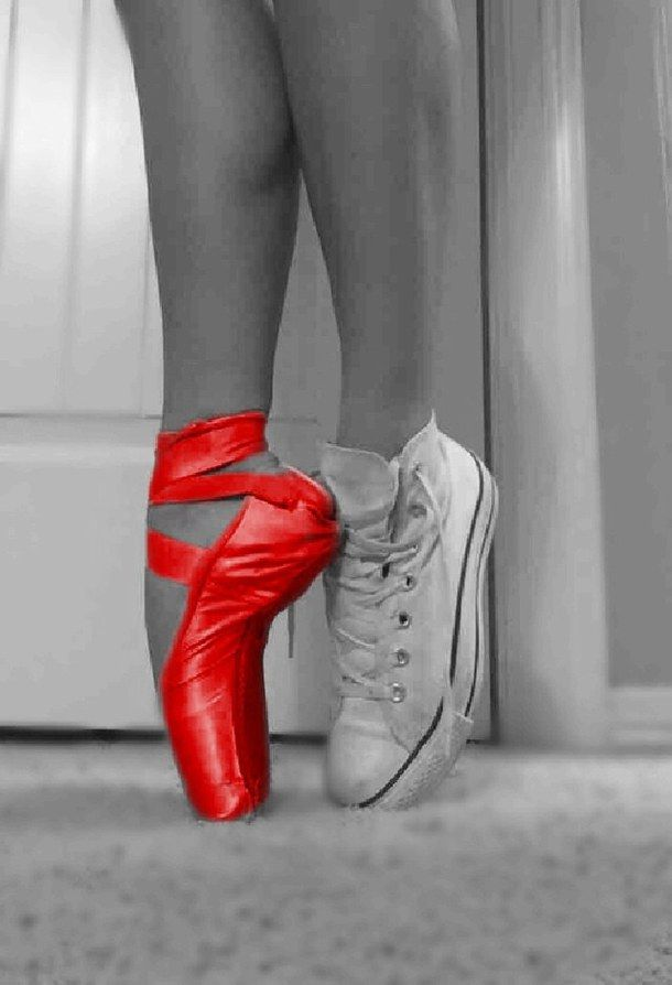 ballet, black, black and white, converse, dance, dancer, different, free, red, shoes, unique, white