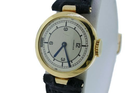 Vintage Ladies Cartier Vendome Unusual 18k Yellow Gold Watch